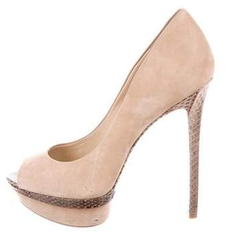 Brian Atwood Snakeskin-Trimmed Pumps