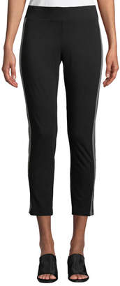 Eileen Fisher Jersey Side-Striped Ankle Pants, Plus Size
