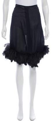 Sonia Rykiel Feather-Trimmed Knee-Length Skirt
