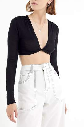 Urban Outfitters Kitty Plunging Twist-Front Cropped Top