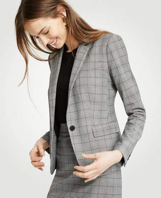 Ann Taylor Glen Plaid One Button Perfect Blazer