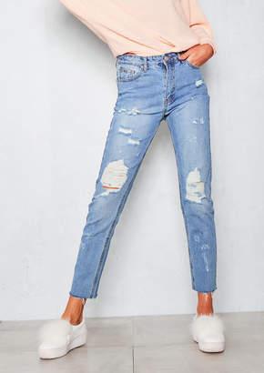 Missy Empire Kacey Light Blue Distressed Straight Leg Jeans