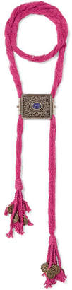 Etro - Silk, Burnished Gold-tone And Stone Necklace - Bubblegum $875 thestylecure.com