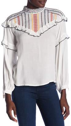 Flying Tomato Embroidered Long Sleeve Blouse
