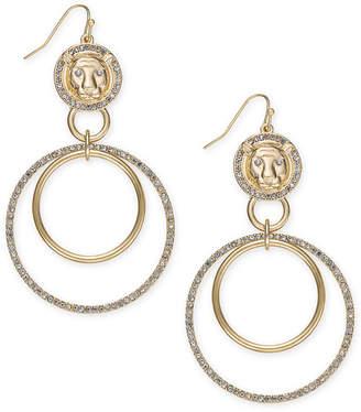 "Thalia Sodi Extra Large Gold-Tone Lion Crystal Double Drop Earrings 3.5"""
