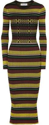 Opening Ceremony Striped Ribbed-knit Midi Dress