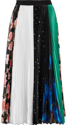 MSGM Pleated Printed Satin Midi Skirt - Black