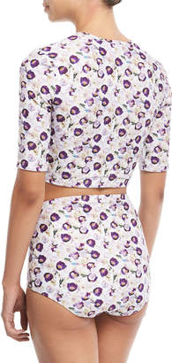 Cover Cropped Zip-Front Floral-Printed Swim Top