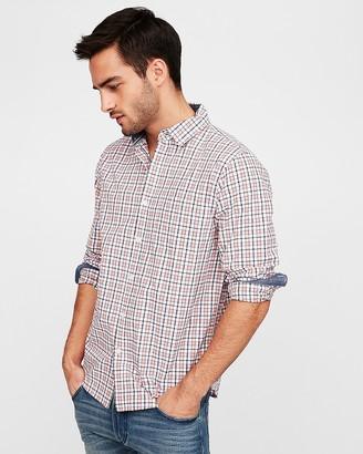 Express Classic Soft Wash Plaid Shirt