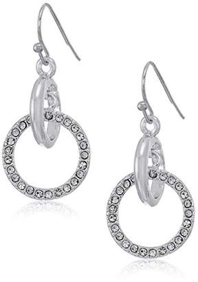 T Tahari Plain and Pave Link Drop Earrings
