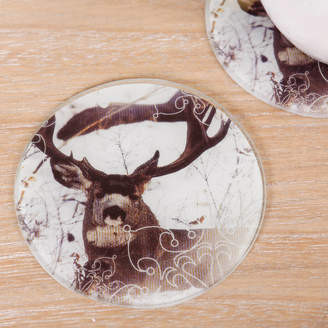Dibor Set Of Four Round Highland Stag In Snow Print Coasters