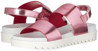 Armani Junior - Logo Sandal with Straps Girls Shoes $240 thestylecure.com