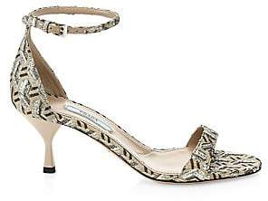 567efbfa624 Prada Women s Kitten Heel Brocade Ankle Strap Sandals