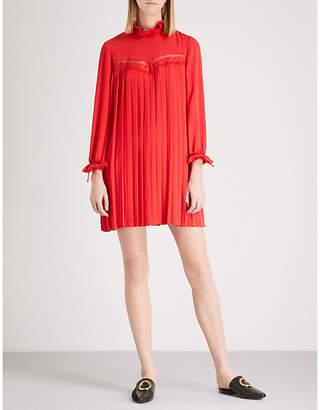 Claudie Pierlot Rivage lace-panelled crepe mini dress