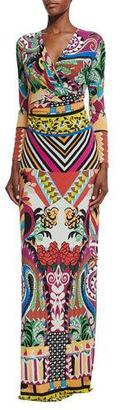 Etro Multi-Print Faux-Wrap Maxi Dress, Purple Multi $1,990 thestylecure.com