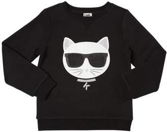 Karl Lagerfeld Choupette Print Cotton Sweatshirt