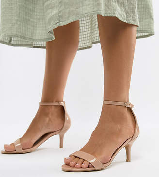 Barely There Glamorous Wide Fit Beige Kitten Heeled Sandals