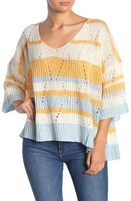 TOV Striped Knit 3/4 Sleeve Sweater