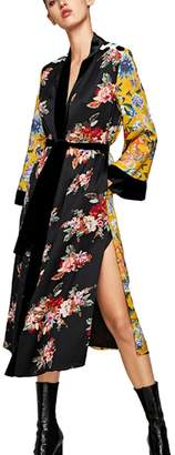 Zonsaoja Women's Long Floral Kimono Cardigans Blouse with Belt Bathrobes XL