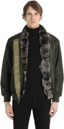 Coyote Fur Lined Nylon Bomber Jacket $4,310 thestylecure.com