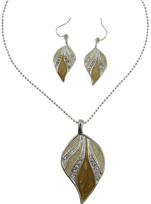 MIXIT Brown Enamel Leaf Pendant Necklace & Earrings Set
