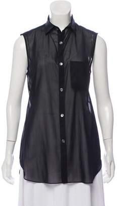 Tess Giberson Sleeveless Button-Up Top Black Sleeveless Button-Up Top