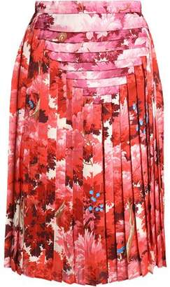 Marco De Vincenzo Pleated Printed Satin Skirt