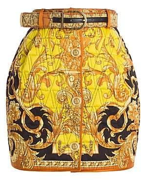 Versace Women's Femme Baroque Quilted Silk Mini Skirt