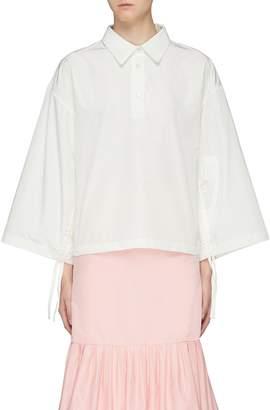 MING MA Cutout bow back wide sleeve shirt