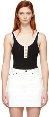 Balmain Black and White Knit Button Bodysuit