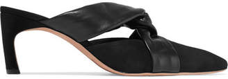 Rosetta Getty Suede And Leather Mules - Black