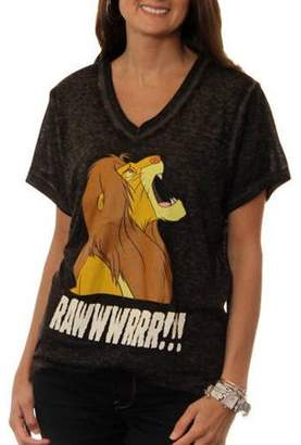 487ac437 Disney Women's Lion King Simba YAAASSS! V-Neck Graphic Burnout T-Shirt