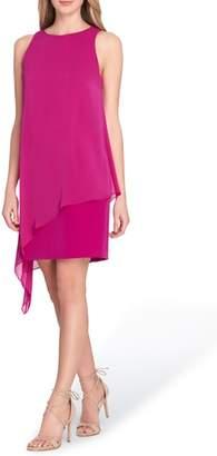 Tahari Sleeveless Overlay Crepe Sheath Dress