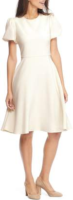 Gal Meets Glam Krista Puff Sleeve Crepe Fit & Flare Dress