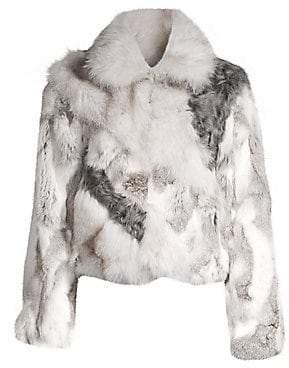 Adrienne Landau Women's Rabbit, Fox and Lamb Fur Crop Jacket