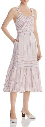 Rebecca Taylor Metallic Striped Midi Dress
