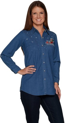 Factory Quacker Long Sleeve Button Front Denim Tunic w/ Holiday Motif