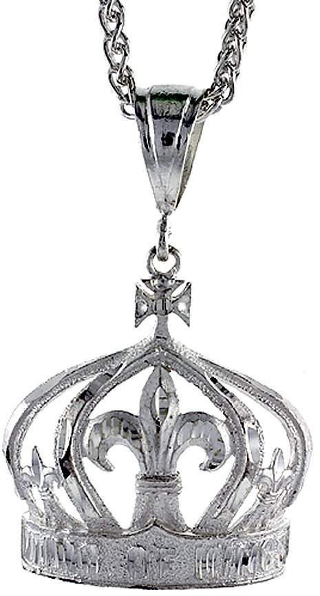 Sabrina Silver Sterling Silver Crown Pendant, 1 1/2 inch tall