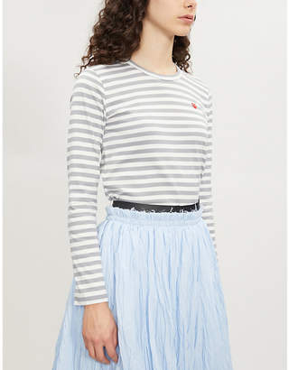 Comme des Garcons Heart-embroidered striped cotton-jersey top