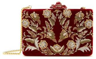 Oscar de la Renta Embroidered Velvet Rogan Clutch