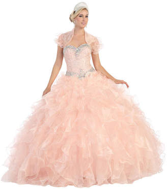 Asstd National Brand Strapless Ruffled Layered Ball Gown With Bolero Jacket - Juniors
