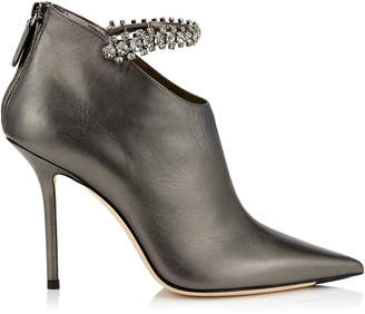 Jimmy Choo BLAIZE 100 Anthracite Metallic Nappa Leather Booties with Crystal Strap