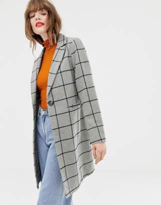 New Look Grid Check Coat