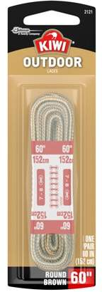 """Kiwi Outdoor Round Laces Brown 60"""" 2 pairs"""