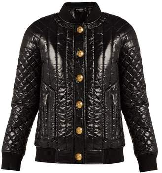 Balmain - Quilted High Shine Bomber Jacket - Womens - Black