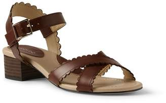 Lands' End Brown Wide Scalloped Block Heel Sandals
