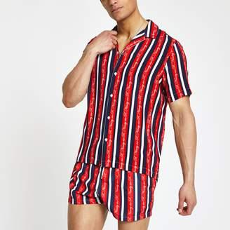 River Island Mens R96 Red revere stripe shirt
