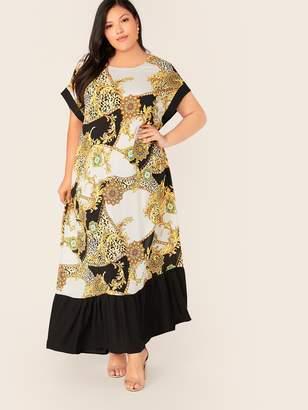 Shein Plus Chain Print Contrast Cuff and Flippy Hem Dress