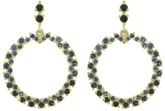 Ruta Reifen Blue Sapphire Show Love Hoop Earrings - Yellow Gold
