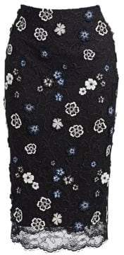 Lela Rose Lace Embroidery Pencil Skirt